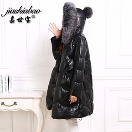 Wholesale Real Fur Coats Black - Jiashibao Free shipping real sheep leather women winter coat Fox fur collar cape zipper mudium down outerwear Hooded parkas big size loose