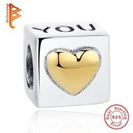 925 braccialetti d'oro Sconti BELAWANG Perle di fascino in argento sterling 925 I love you Perle a cuore in oro Fit Pandora BraceletBangle Jewelry Making Regalo di San Valentino