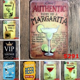Wholesale Cuba Wholesalers - Bar Painting Mojito Cuba Cuban Cocktail Vintage Tin Signs Retro Metal Iron Plate Painting Wall Decoration for Bar Cafe Home Club Pub Beer