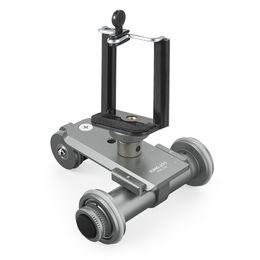 2019 dolly para dslr cámara PPL-06 Motorizado eléctrico de 3 ruedas de la polea del coche Dolly Rolling Slider Skater para Canon DSLR Camera + Smartphone Holder rebajas dolly para dslr cámara