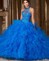 Wholesale Gold Sweet 16 - Quinceanera Cheap Formal Prom 2017 Blue Tiered Skirt Ball Gown Halter Neck Crystals Sequin Custom Made Floor Length Sweet 16 Dresses
