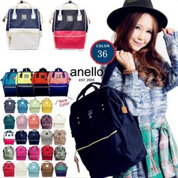 Wholesale Mommy Bags - ANELLO Japan Stripe Handle Backpack 36 Styles Large Capacity Campus Rucksack Canvas School Bag Mommy Backpack OOA2207
