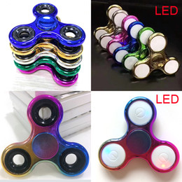 Wholesale Toys Color Lights Kids - Metal Metallic Electroplate Color LED light Hand Spinners Fidget Spinner Top Triangle Finger Spinning Top Decompression Fingers Tip Top Toys