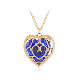Wholesale Hollow Silicone Necklace - Comic and Animation URN Fashion Jewelry The Legend Of Zelda Hollow Out Crystal Love Necklace Cage Pendants Wholesale