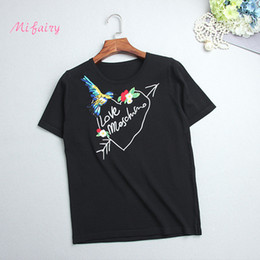 Wholesale t shirt birds women - 2017 Black White Royal Blue Short Sleeves Women's Pullovers Love Letter Birds Embroidery Knitting T Shirts Women S061769