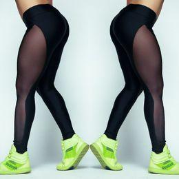 Wholesale Female Fitness Clothes - Sport Leisure Leggings Women Sexy Mesh Splice Fitness Slim Black Legging Sport Yoga Clothing Bodybuilding Female Leggings