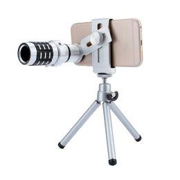 Wholesale Telephoto Universal 12x - Telescope Camera Lens 12X Optical Zoom No Dark Corners Mobile Phone Telescope tripod for iPhone 6 7 Samsung smart phone telephoto lens