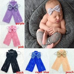 Wholesale Infant Safety Set - Newborn Legwarmers headband set Baby lace Leg Warmers and Headband photo prop Infant Knee Safety Protector solid color