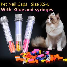 Wholesale Glue Caps - Pet Supplies 20pcs Soft Cat Pet Nail Caps Claw Control Paws Adhesive Glue Size XS-L Pets Dog Toys Cat Grooming Tool #ZJ