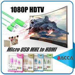 Wholesale Galaxy S3 Hdmi - 1.8m Micro USB MHLMicro USB MHL to HDMI Cable 1080P HDTV Adapter with USB Charging Cable for Samsung Galaxy S3 S4 S5 Note 2 Note3 11-P