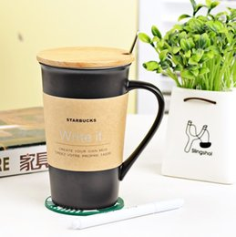 Wholesale Starbucks Ceramic Coffee Cups - High Quality Starbucks ceramic coffee cup, 401-500ml Starbucks Matt cup with cover and spoon,Mug