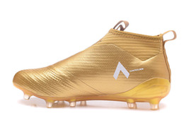 Wholesale Ground Spikes - New Ace 17+ Purecontrol Champagne Outdoor Soccer Cleats Firm Ground Cleats Trainers Boost FG NSG ACE 17 Mens Football Boots Soccer Shoes