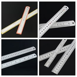 Wholesale Hand Crimping Machines - Stainless Steel Office Ruler Precision Double Sided Measuring Tools Hand tools with Non Slip Cork Base