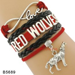Wholesale Custom Wolf - (10 Pieces Lot) Infinity Love Red Wolves Bracelet Wolves Charm Black Red Custom Leather Wrap Bracelets Any Themes