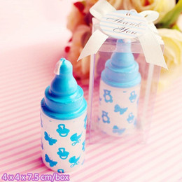 Wholesale Pink Nursing Baby - Pink Blue Feeding Nursing Bottle Feeder Candle For Wedding Party Birthday Baby Shower Souvenirs Gifts Favor ZA3001