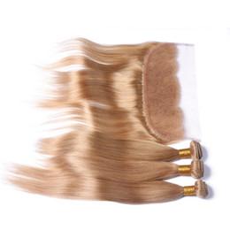 Couleur 27 européenne vierge de cheveux de soie droite 10-30 pouces miel blonde extension de cheveux 3 faisceaux avec de la dentelle frontale vierge brésilienne armure de cheveux ? partir de fabricateur