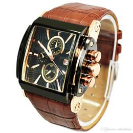 Caras de reloj de pulsera online-Relojes de marca de lujo de los hombres Fecha de la gran reloj de pulsera de cuero genuino del reloj de los hombres ocasionales del deporte Reloj de pulsera militar del ejército de cuarzo Relogio