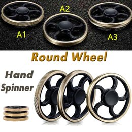 Wholesale Toy Bike Wheels - 2017 Round Wheel Brass Hand Fidget Spinner Metal Aiming Circle Finger Spinner Fidget Toy Hand Spinne Decompression Toys For Kids And Adults