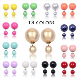 Wholesale Colored Ball Stud Earrings - 18 Colors Double pearl Ear Stud Dual Size Reversible Shamballa Beads Earrings Candy-colored ball Ear Stud For Women ladies