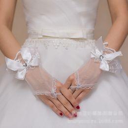 Wholesale Short Rhinestone Wedding Gloves - High Quality Ivory Fashion New Style Bridal Gloves Short Wrist Length Elegant Rhinestone Bridal Wedding Gloves bride glove Free Shipping