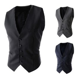 Wholesale Buckle Vests - Wholesale- 2016 Hot Sale Cotton Woolen Vests Waistcoat Men Chaleco Hombre New Pattern Man Leisure Stripe Formal Buckle 5 Buttons Suit Vest
