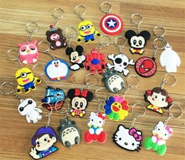 Wholesale Cars Cute - Mixed lot diy Hot beautiful soft PVC silicone charms Keychain cute cartoon anime gift key pendant rubber Key chain Ring jewelry