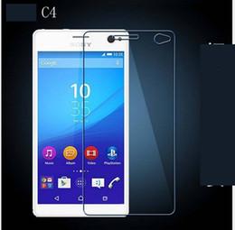 protectores de pantalla xperia Rebajas PARA SONY Xperia C3 C4 C5 Xperia Z1 COMPACT Z3 COMPACT 9H Premium 2.5D Protector de pantalla de cristal templado 200PCS