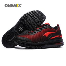Wholesale Snow Boots For Mens - ONEMIX Man Running Shoes For Men Air Cushion Shox Sole Athletic Trainers Mens Black Red Sports Shoe Outdoor Waterproof Walking Sneakers 2018
