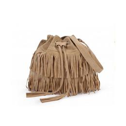 Wholesale Wholesale Bags Cheaper - Wholesale-2016 New Cheaper price promotion Tassel lady bucket bag Faux Suede crossbody shoulder bags canvas bag bolsos mujer woman handbag