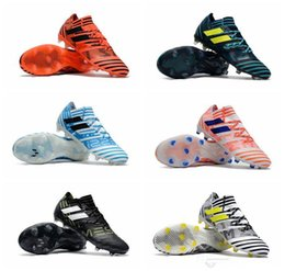 Wholesale Man Shoes High Tops - 2017 ACE 17+ Purecontrol FG Mens soccer Shoes Nemeziz 17.1 FG Football Shoes High Tops Soccer Boots Laceless Soccer Cleats Football Boots