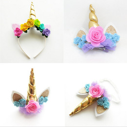 Wholesale Photo Rabbits - Unicorn horn headband Europen and American style girls sequins rabbit ear stereo flowers handmade kids flower headband photo prop T4164