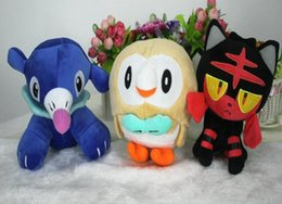 Wholesale Stuffed Animals For Ems - 18CM Popplio Rowlet Litten Pokémon Pocket Monsters Pikachu Plush Doll Stuffed Animals Toy For Baby Gifts EMS