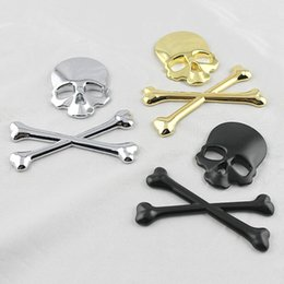 Wholesale Motorcycle Decals Stickers Honda - Car Styling Skull Metal Bone Badge motorcycle car stickers and decals car accessories For Jeep SUV Harley Honda Yamaha Toyota