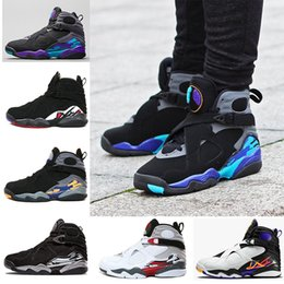 Wholesale Aqua Basketball - 2018 New 8 VIII men basketball shoes Aqua black purple Chrome Playoff red Three Peat 2013 RELEASE Athletic sports sneakers size 41-47