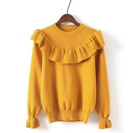 Wholesale Sweaters For Ladies - Wholesale- Long Sleeved Sweater ladies Autumn New Korean Ruffles Women Sweet Sweater knitting Shirt O Neck Sweaters For Woman Overcoat Pink