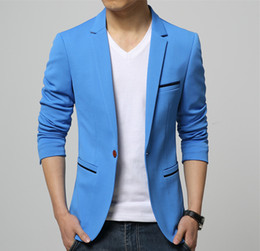 Wholesale Korean Suit Slim Fit Men - Mens Korean slim fit fashion cotton blazer Suit Jacket black blue beige plus size Male blazers Mens coat Wedding dress