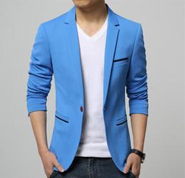 Wholesale Slim Skinny Fitting Blazers - Mens Korean slim fit fashion cotton blazer Suit Jacket black blue beige plus size Male blazers Mens coat Wedding dress