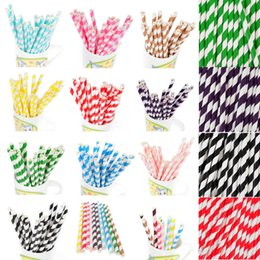 Wholesale Drinking Plastic Straw - 50pcs Colorful Vintage Biodegradable Paper Drinking Straws For Kids Birthday Party Wedding Decorations