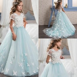 Wholesale Pretty Butterflies - Pretty Lace Little Bride Flower Girl Dresses Short Sleeves With Cute Butterfly Sweep Train 2017 Kids Glitz Pageant Prom Party Gowns