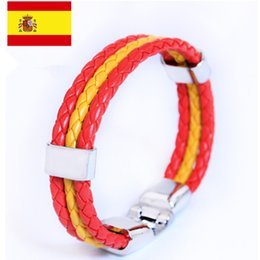 Wholesale Spain Leather - 2016 Euro Cup Spain Bracelet national flag three-layer woven leather bracelet European Cup souvenirs Gift for Spain funs!
