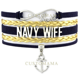 Wholesale Leather Bracelet Wrap Gold - Custom-Infinity Love United States Navy Wife Charm Wrap Bracelets Navy Blue Gold Suede Leather Custom any Themes