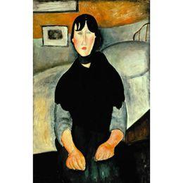 2019 peintures à l'huile de qualité femmes Art Gift peintures à l'huile de Amedeo Modigliani Jeune Femme du Peuple Peint à la Main Portrait Art Abstrait Haute qualité promotion peintures à l'huile de qualité femmes