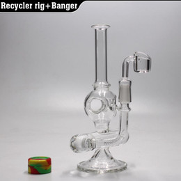 """Wholesale Glass Bends - 8"""" Recycler oil rig glass bong water pipe Inline perc dab rig with 4MM quartz banger nail 14.5MM"""
