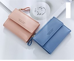 Wholesale Business Cards Free Simple - Free shipping 2017 new women short handbag simple style multi-card position two fold buckle wallets candy color coin purse B366-1