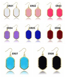 Wholesale Earring Acrylic Dangle - NEW Hot Gometric Kendra Earring Scott Style Acrylic Natural Stone Chandelier Dangle Earrings Boutique Lady Costume Jewelry