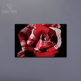 Wholesale Modern Canvas Art Roses Paintings - 1 PCS Modern Wall Art Picture Red and White Striped Rose Canvas Painting Spray Print Decorations for Home  Office  Hotel