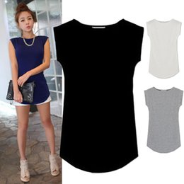 Wholesale Juniors Tees - Wholesale-Women 2015 Junior Basic Plain Casual Modal Cap Sleeve Slim O-Neck Tee T-Shirt Tops