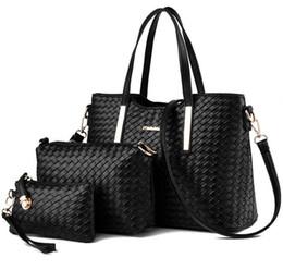 Wholesale European Style Women Suit - 2017 new fashion woven composite bag 3pcs set women handbag shoulder suit bag fashion pu leather shoulder luxury women designer Clutch Bags