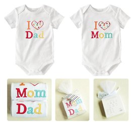 Wholesale I Love Dad Romper - Baby Clothes Boys One-piece Rompers Summer Infant Romper Cute I LOVE Dad Mom Printed Sleepsuit Bodysuit