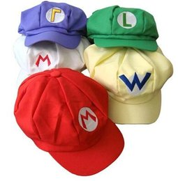 Wholesale Wholesale Red Mario Hats - DHL Super Mario Bros Anime Cosplay Red Cap Tag Super cotton hat Super mario hats Luigi hat 5 colors Free shipping E879